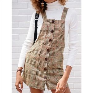 Plaid Button Down Skirtall Overall